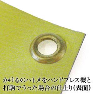 かけるのハトメをハンドプレスで打った場合の表面の仕上がり例